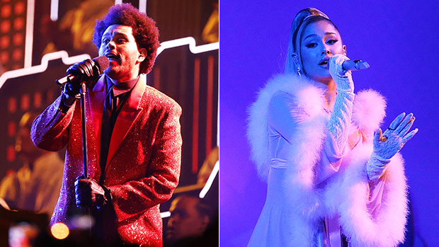 Ariana Grande Debuts Diamond Wedding Band As She Performs With The Weeknd At iHeartRadio Awards