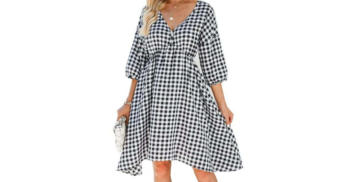 Get Ready for Fall Fashion With This Transitional Gingham Midi Dress