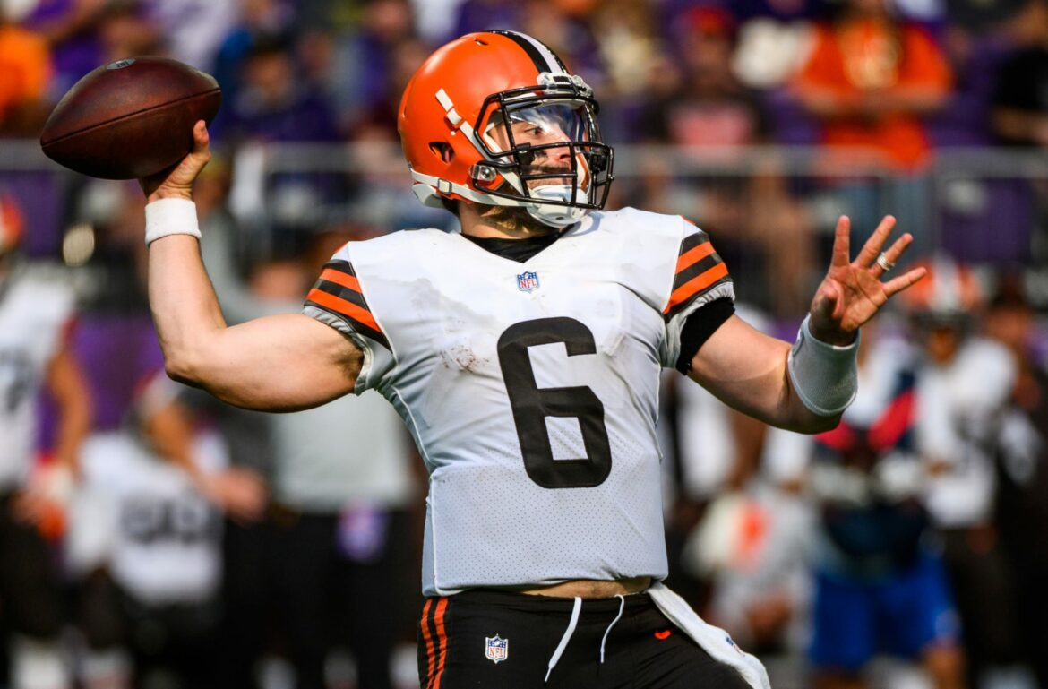 Browns' Baker Mayfield is wearing a shoulder harness after injury
